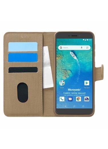 Microsonic General Mobile Gm8 Go Kılıf Fabric Book Wallet Gold Altın